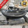 Wastafel marmer tulungagung oval hitam asli batu alam diameter 40 cm