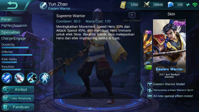 Yun Zhao, Jenis Hero Dalam Game Mobile Legend