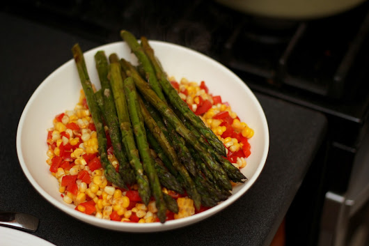 Warm Corn and Bell Pepper Salad with Asparagus