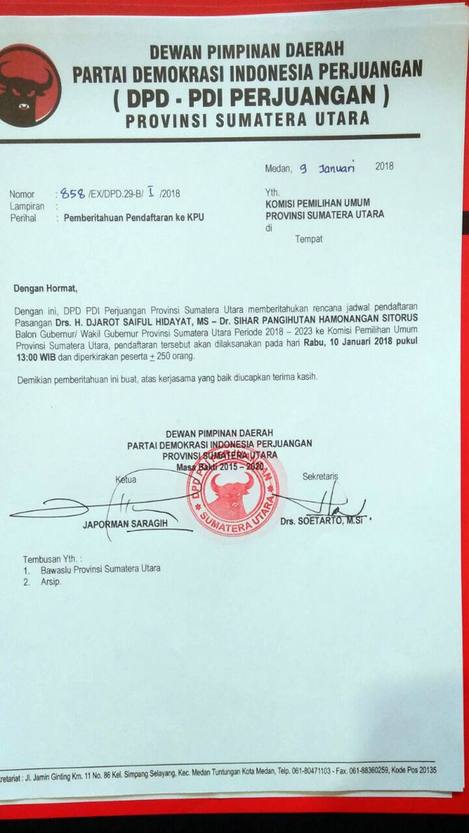 Surat PDIP ke KPU Akan Daftarkan Djarot-Sihar, Besok