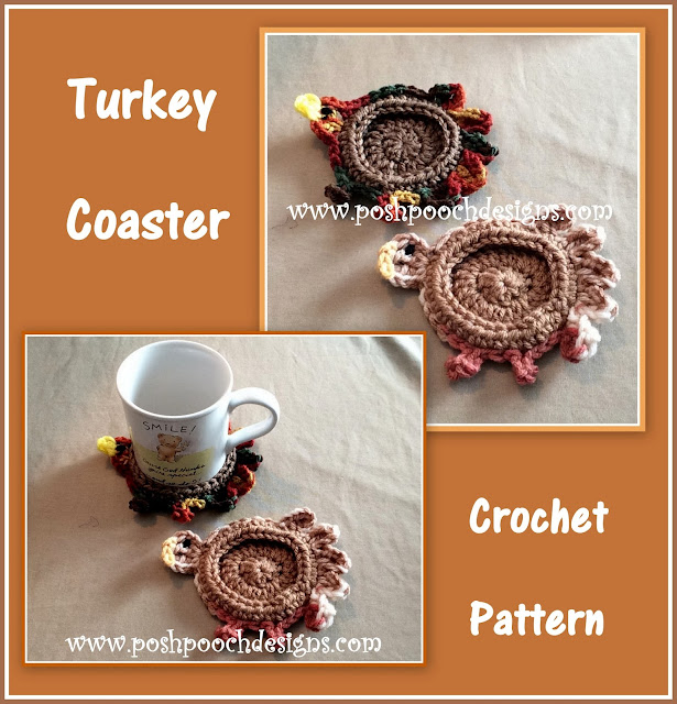 Gobble Coaster Free Crochet Pattern : Posh Pooch Designs Dog Clothes: Turkey Coaster Crochet Pattern