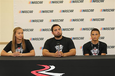 2017 NASCAR Drive for Diversity participants Brittany Zamora (l),  Colin Cabre (c) and Ernie Francis Jr. at Bethune Cookman University