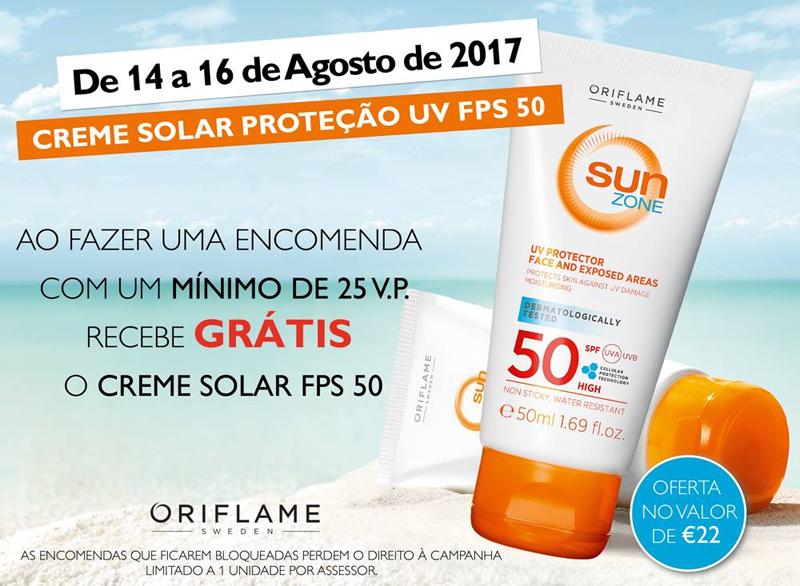 Creme Solar FPS 50 Grátis até 16 de Agosto