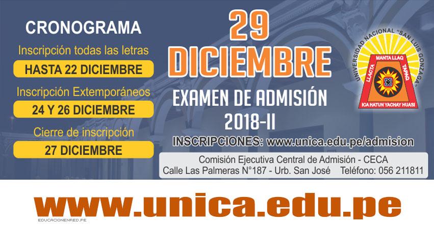 UNICA 2018-2 (Examen Admisión 29 Diciembre) Inscripción Virtual - Universidad Nacional San Luis Gonzaga de Ica - www.unica.edu.pe