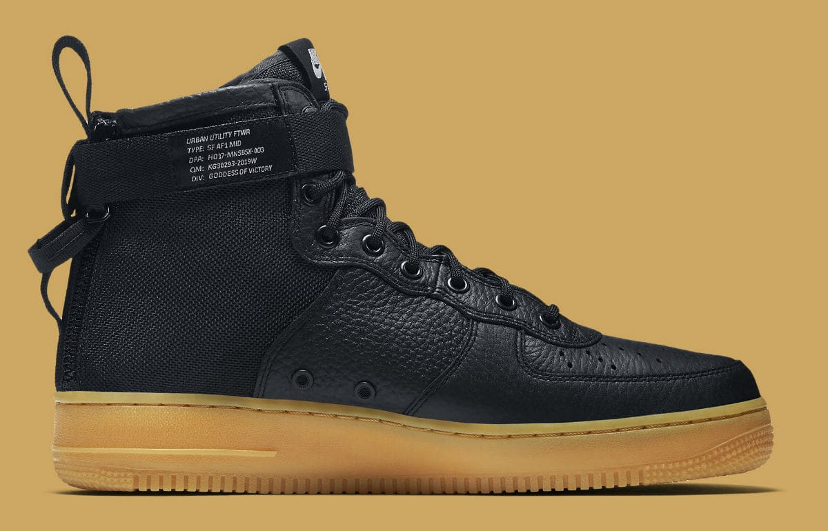nike sf air force 1 mid black gum analykix. Black Bedroom Furniture Sets. Home Design Ideas
