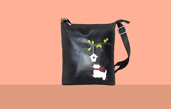 LAVISHY vegan bag with dog applique
