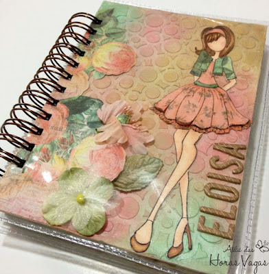 agenda personalizada artesanal permanente textura delicada feminina