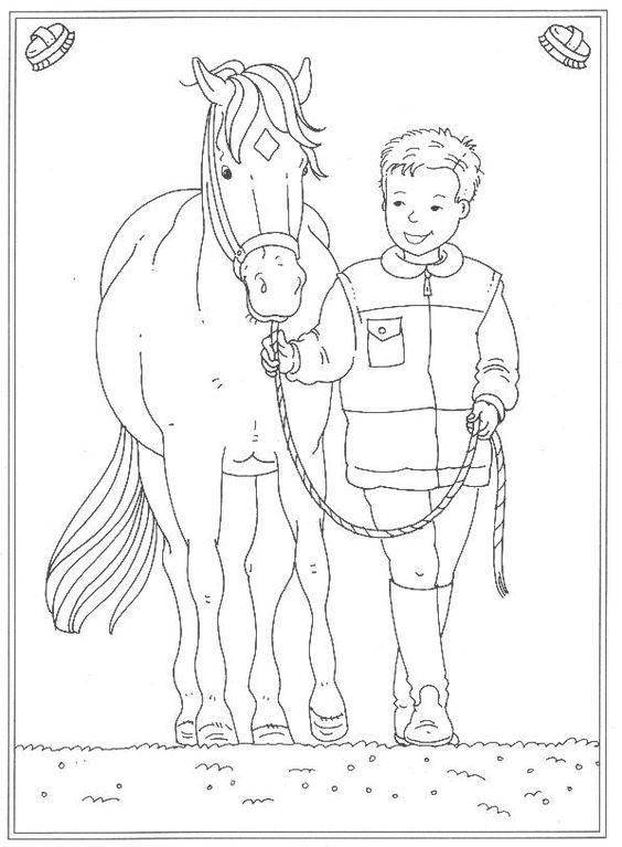 Tranh tô màu dáng người dắt ngựa