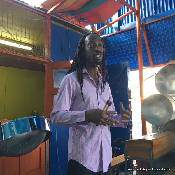 pan player and song writer Kwesi Paul at Dan-Demonium pan yard in Port of Spain, Trinidad