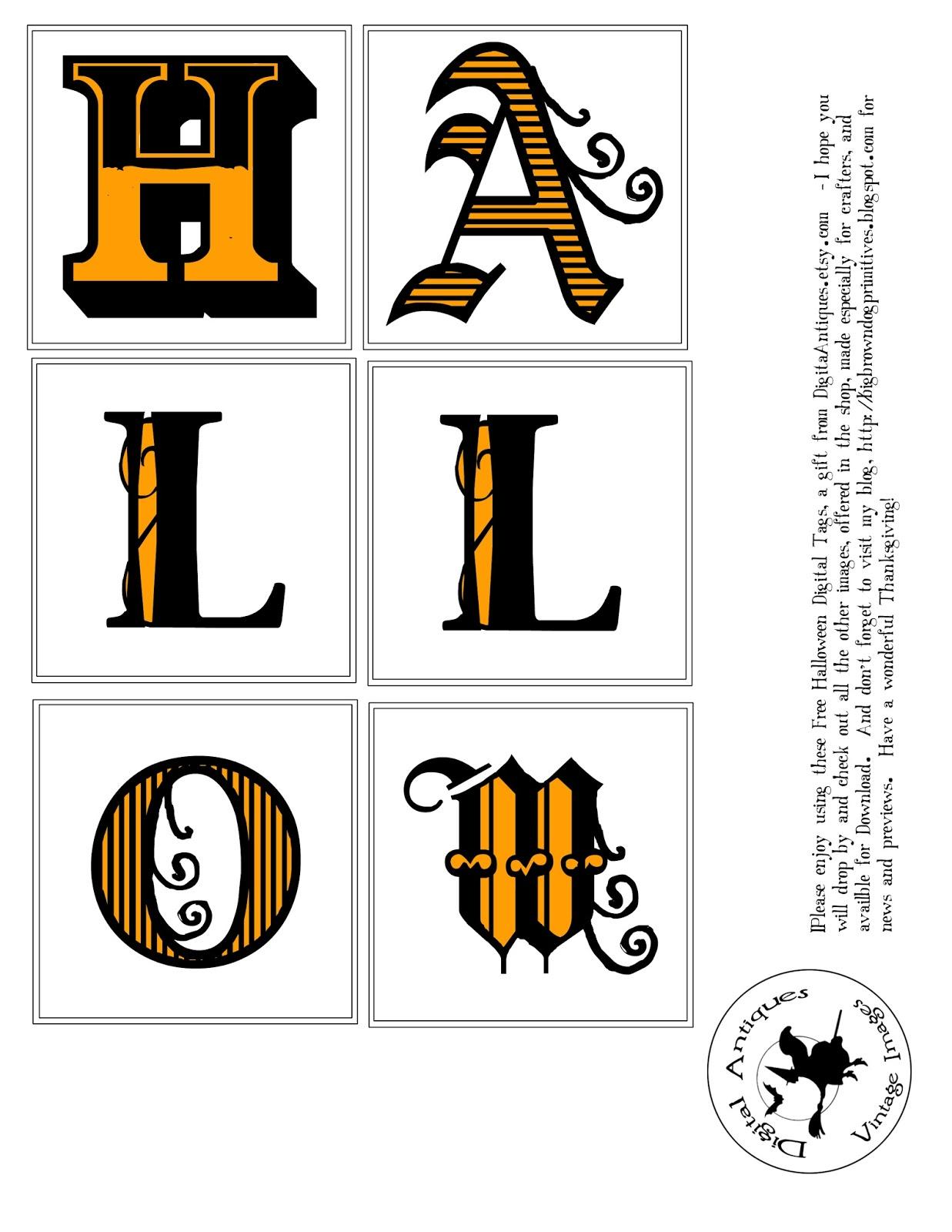Halloween Alphabet Letter R Cat Witch Ryta: Big Brown Dog Primitives