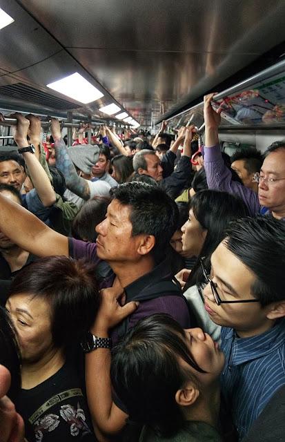 mtr hong kong during rush hour