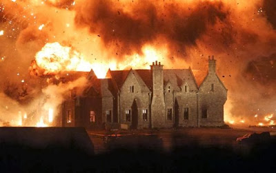 bond's childhood home on fire