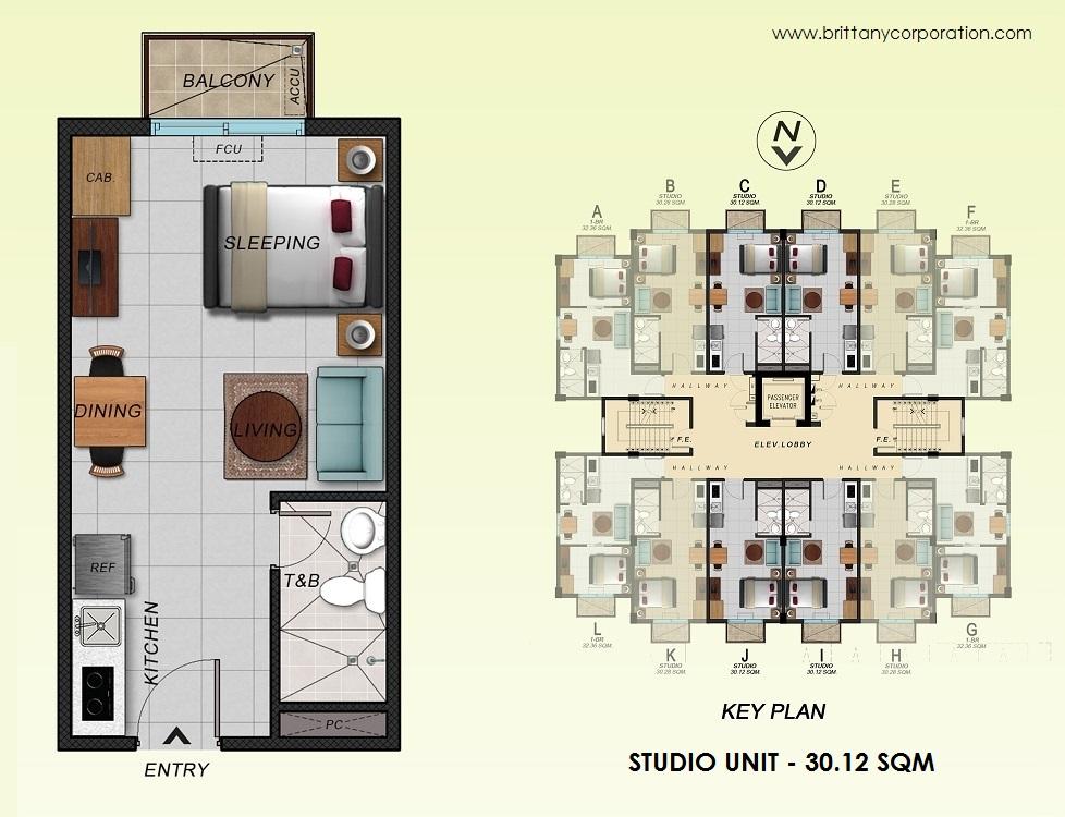 Floor Plan of Alpine Villas at Crosswinds - Studio Unit 30.12 Sqm   Studio Unit 30.12 SQM Condominium Unit for Sale Tagaytay