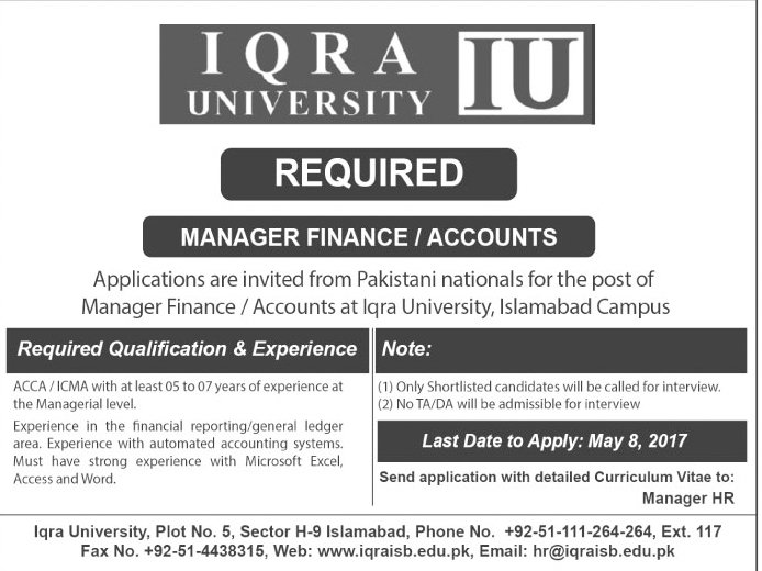 Iqra University Islamabad  Iqra.edu.pk Jobs 29 Apr 2017