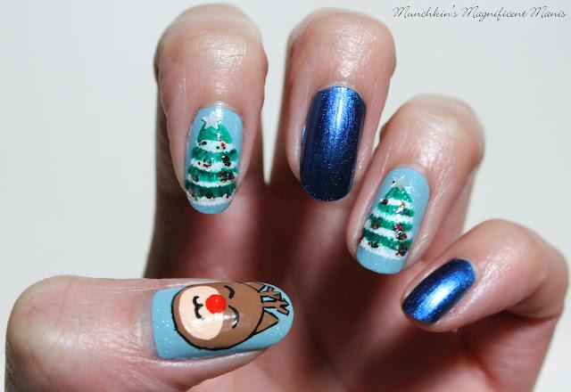 Christmas Nail Design, Rudolph and Christmas Trees