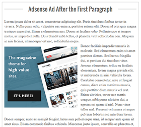 Insert Adsense Inside Posts: After the First Paragraph