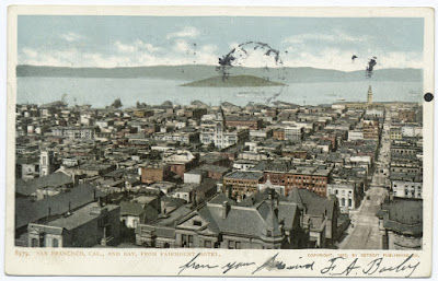 Postcard of SF Bay from the Fairmont from NYPL Digital Collections