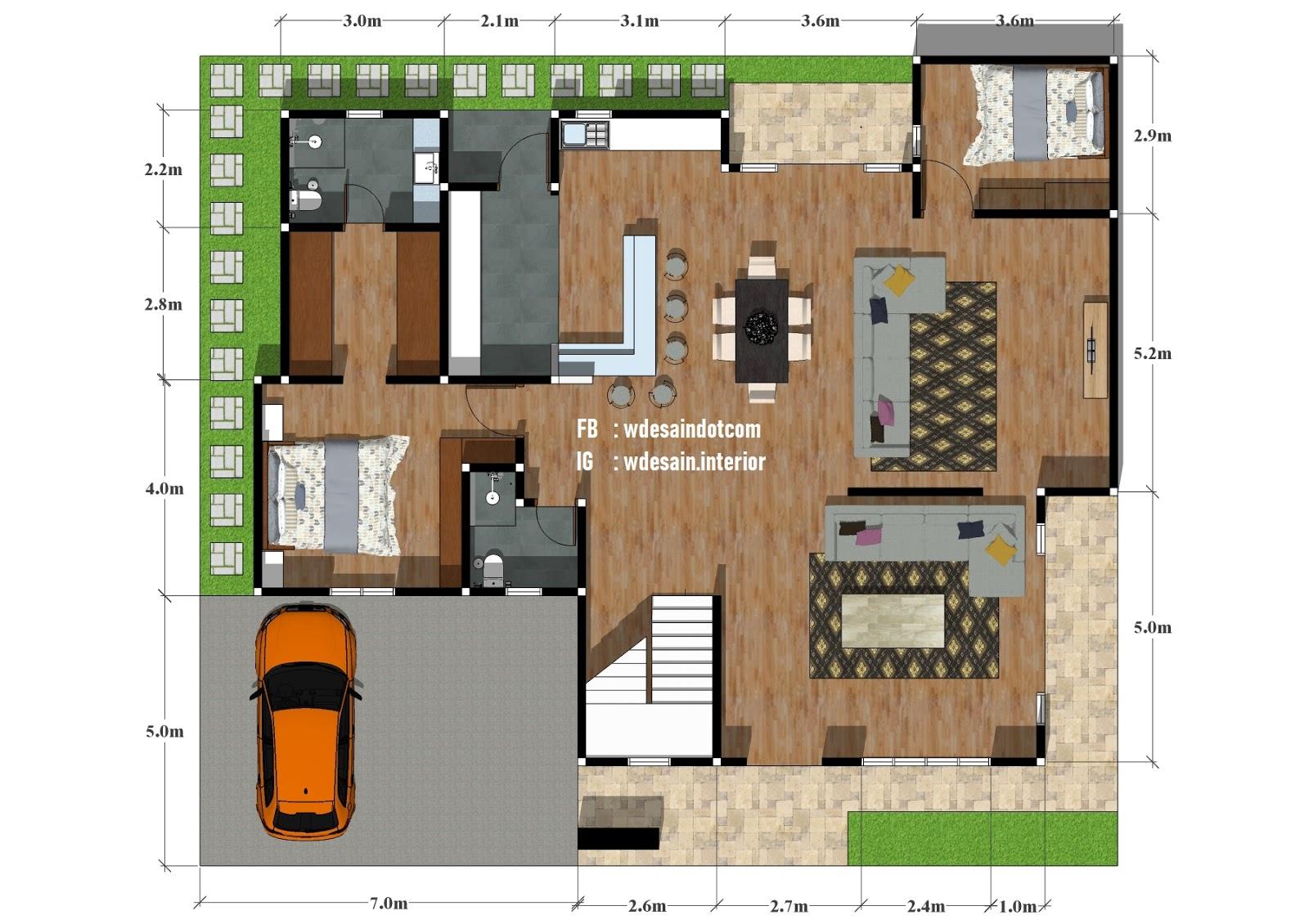 denah rumah 5 kamar tidur