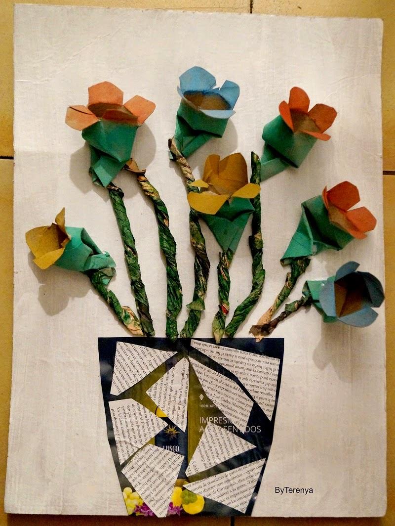 Diy flores con tubos de papel higi nico by terenya - Decoracion con carton de papel higienico ...