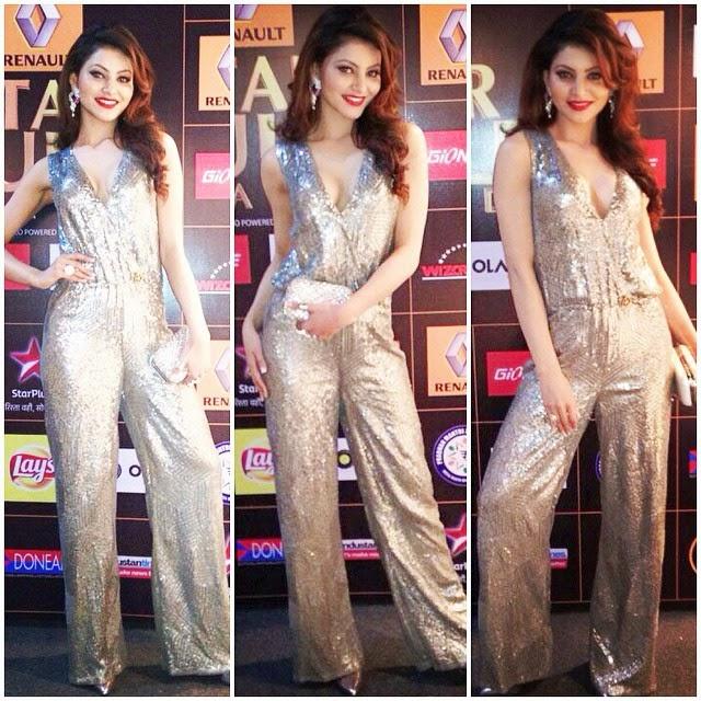 , Urvashi rautela Hot Pics in Shimmering Jumpsuit at Star Guild Awards 2015
