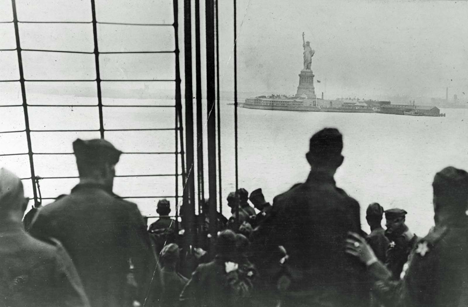 The Statue of Liberty greets the Second Division as it arrives in New York City on August 8, 1919.