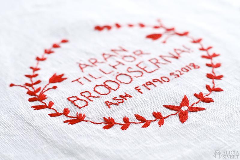 alicia sivertsson sivert aliciasivert fritt broderi handbroderi frihandbroderi free hand embroidery needlework hoop art textile textilkonst skapa skapande kreativitet sy brodera måla med tråd blomma blommor söm landskapssöm landskapssömmar bygdebroderi stygn söm anundsjösöm anundsjö brita-kajsa karlsdotter äran tillhör gud brodöserna äthg märkning textila verk textilkonst märka signera signatur feminism 8:e mars internationella kvinnodagen rött röd garn tråd bomull linne schattérsöm förstygn sicksack under sydd konsthistoria textilhistoria kvinnohistoria