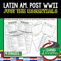 Latin America Post WWII, World History Outline Notes, World History Test Prep, World History Test Review, World History Study Guide, World History Summer School Outline, World History Unit Overview, World History Interactive Notebook Inserts
