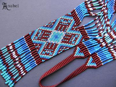 Купить этническое колье из бисера - гердан (гайтан) с авторским орнаментом.