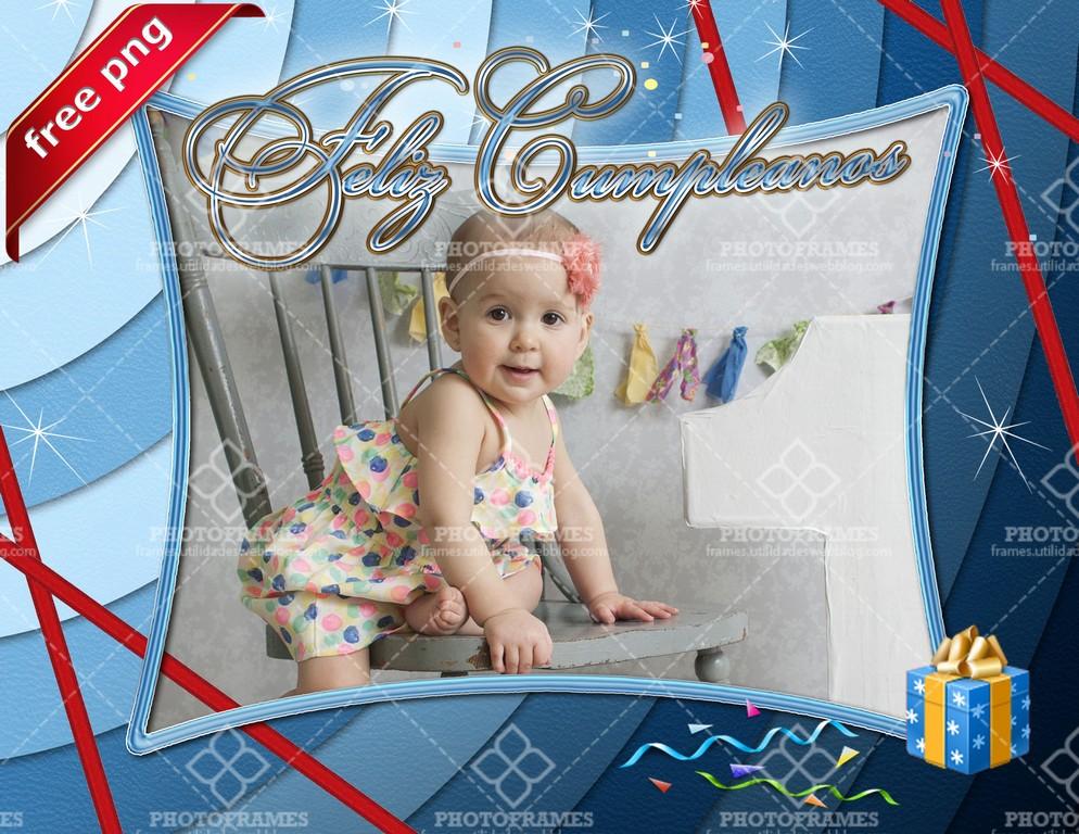 Hermoso marco para fotos de cumpleaños color azul