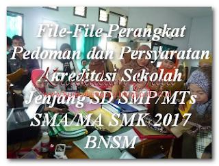 File-File Perangkat Pedoman dan Persyaratan Akreditasi Sekolah Jenjang SD SMP/MTs SMA/MA SMK 2017 BNSM
