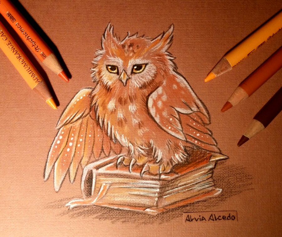 03-Book-keeper-Owl-Alvia-Alcedo-Dragons-and-other-Mythical-Magical-Creatures-in-Fantasy-Drawings-www-designstack-co