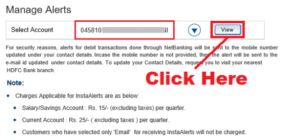 how to activate sms alert in hdfc bank