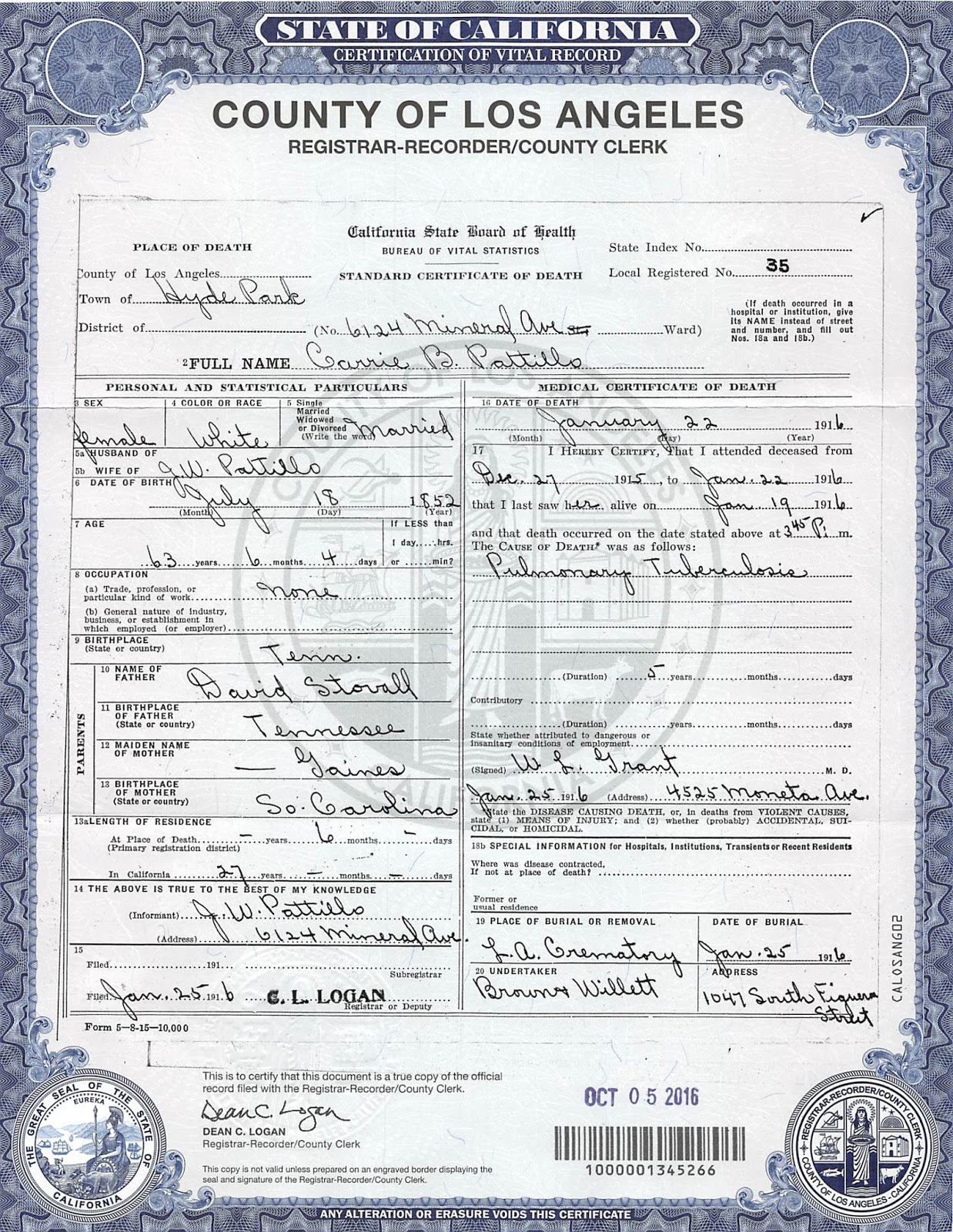 Pattillo thornally ancestors carries death certificate i obtained in los angeles in 2016 1betcityfo Gallery