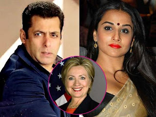 Vidya Balan & Salman Khan is supporting for Hillary Clinton to become next President of US