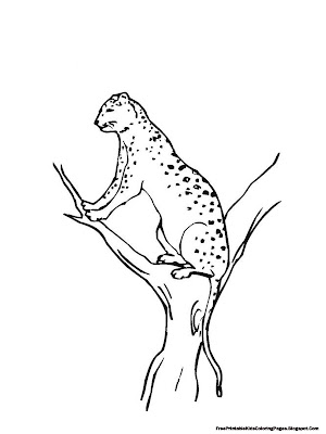 Jaguar Climbing Tree Printable Kids Coloring Pages