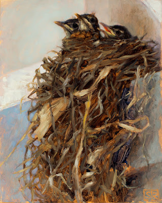 Robin's nest, oil painting, by Shannon Reynolds