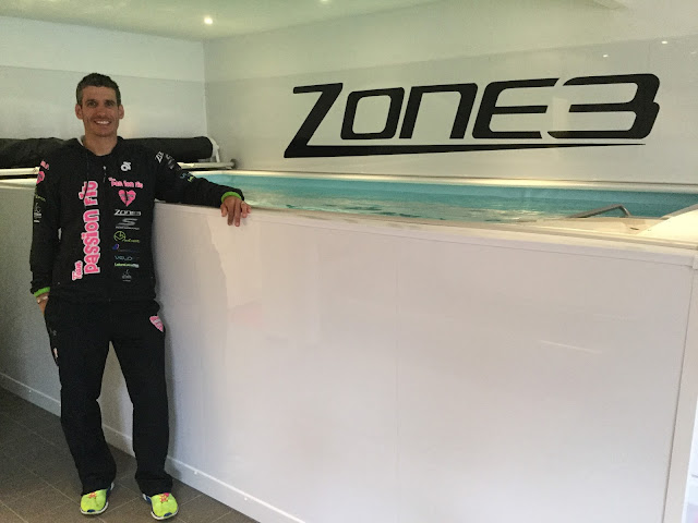 Triathlon coach Tom Ward and the Performance Endless Pool at his Passion Fit studio.