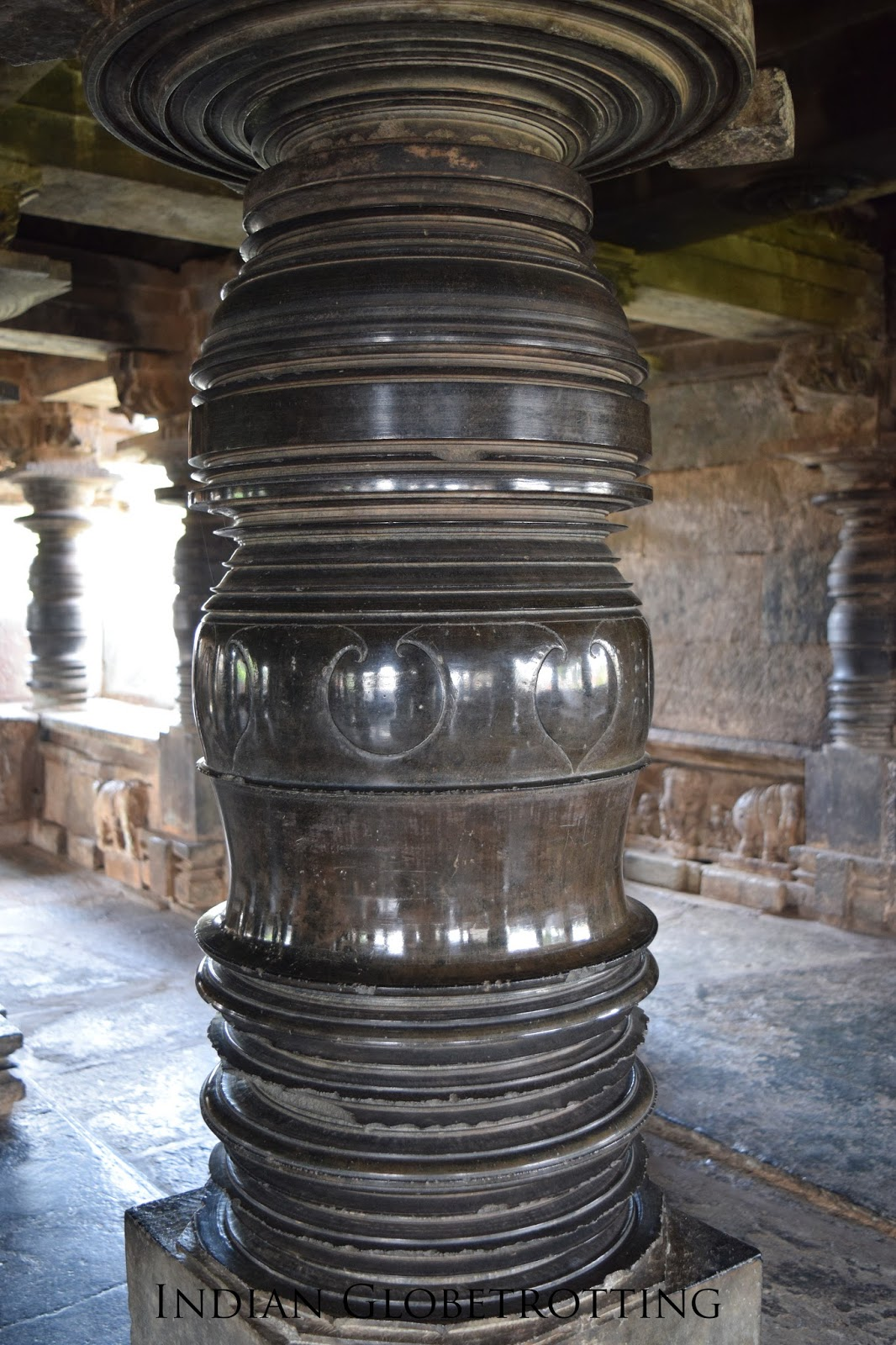 Smoothly carved lathe tuned pillars of belavadi temple