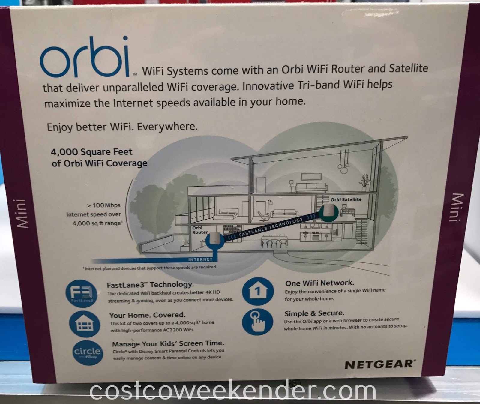 Costco 1218354 - Netgear Orbi WiFi System AC2200 (RBK22) gives you better streaming gaming, and internet browsing experience