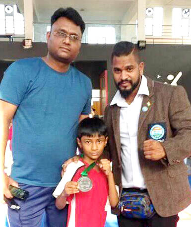 Medhash Singh of Faridabad won bronze in Junior National Kick Boxing Championship