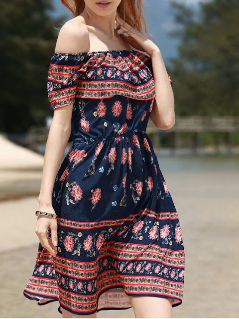 Retro Floral Print Sleeveless Off The Shoulder Dress