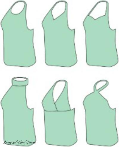 Collection of various halter neck bodice types