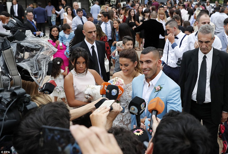 Former Man City Striker Carlos Tevez Marries Her Childhood Heartrub Venesa - Photos 3B94462F00000578-4059244-Greetings_The_footballer_spoke_to_members_of_the_press_as_his_ne-a-3_1482427458623