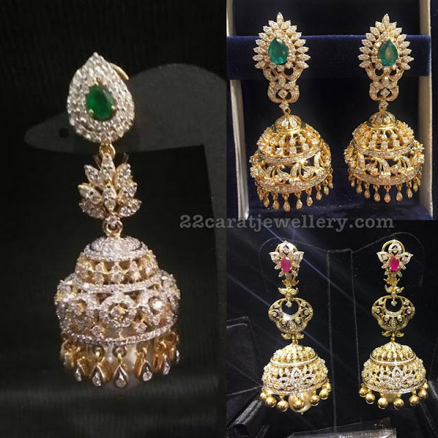 Large jhumkas in Diamond