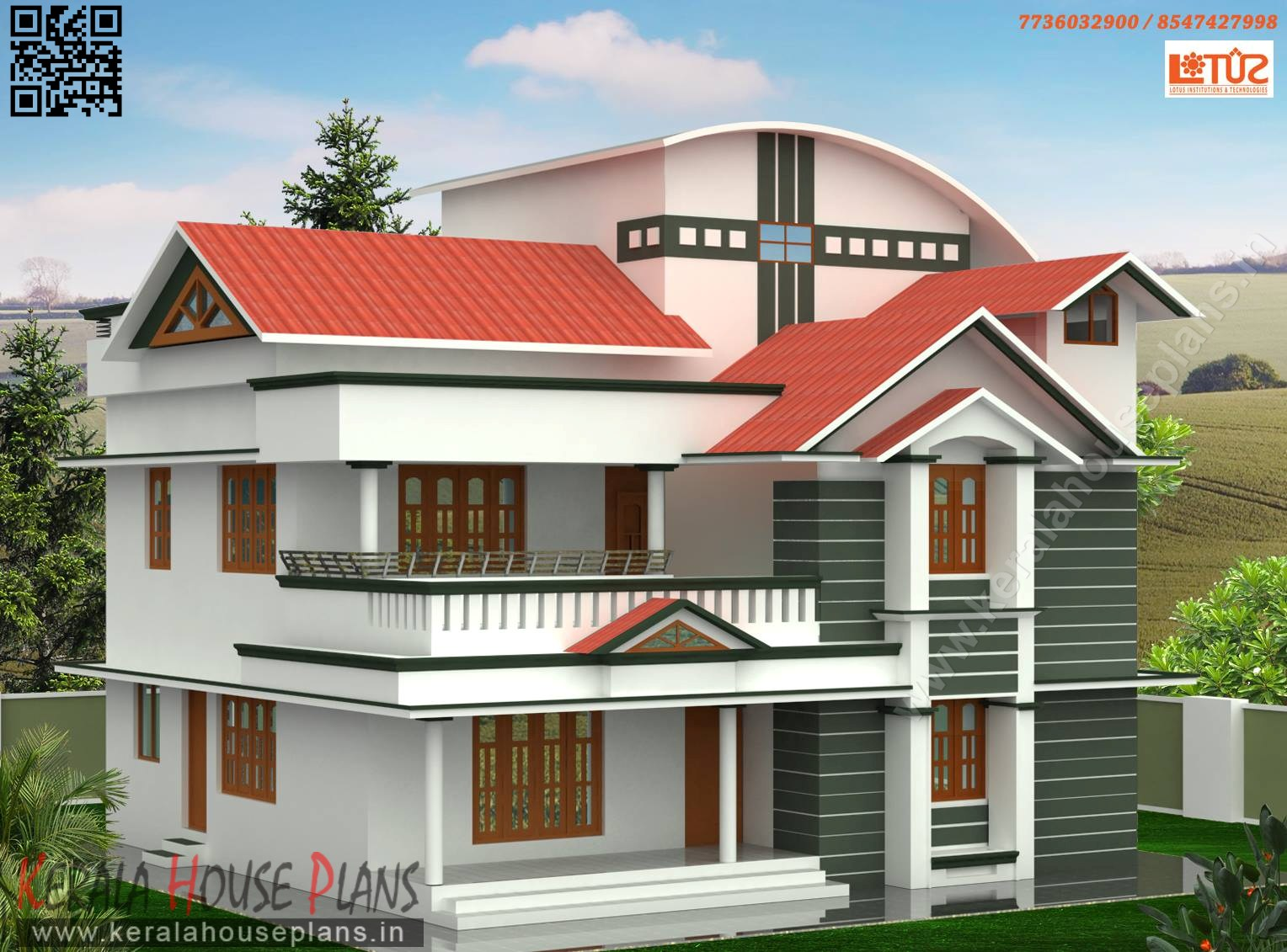 semi colonial kerala style house elevation
