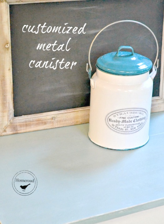 metal container with label