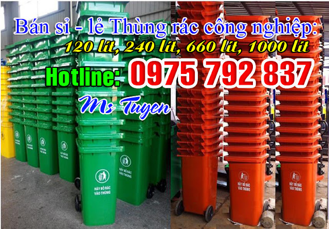 Cung cấp thùng rác công nghiệp 120 lít nhựa HDPE