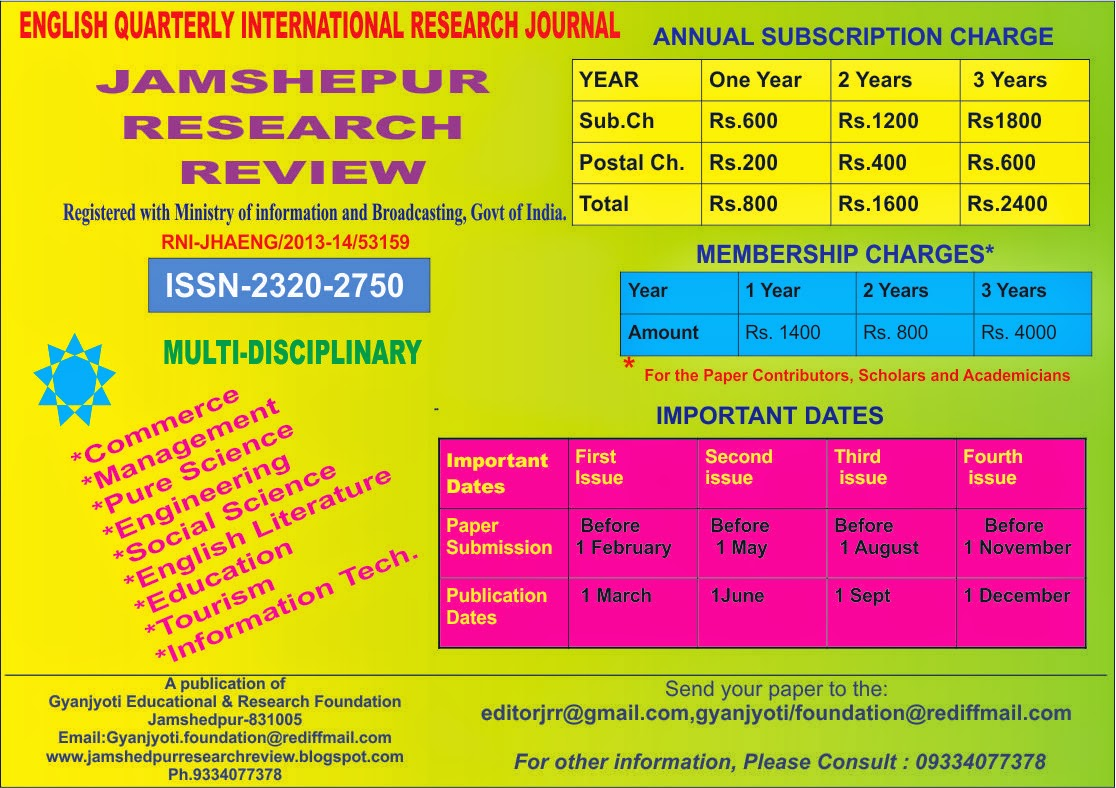 JAMSHEDPUR RESEARCH REVIEW (ISSN 2320-2750)