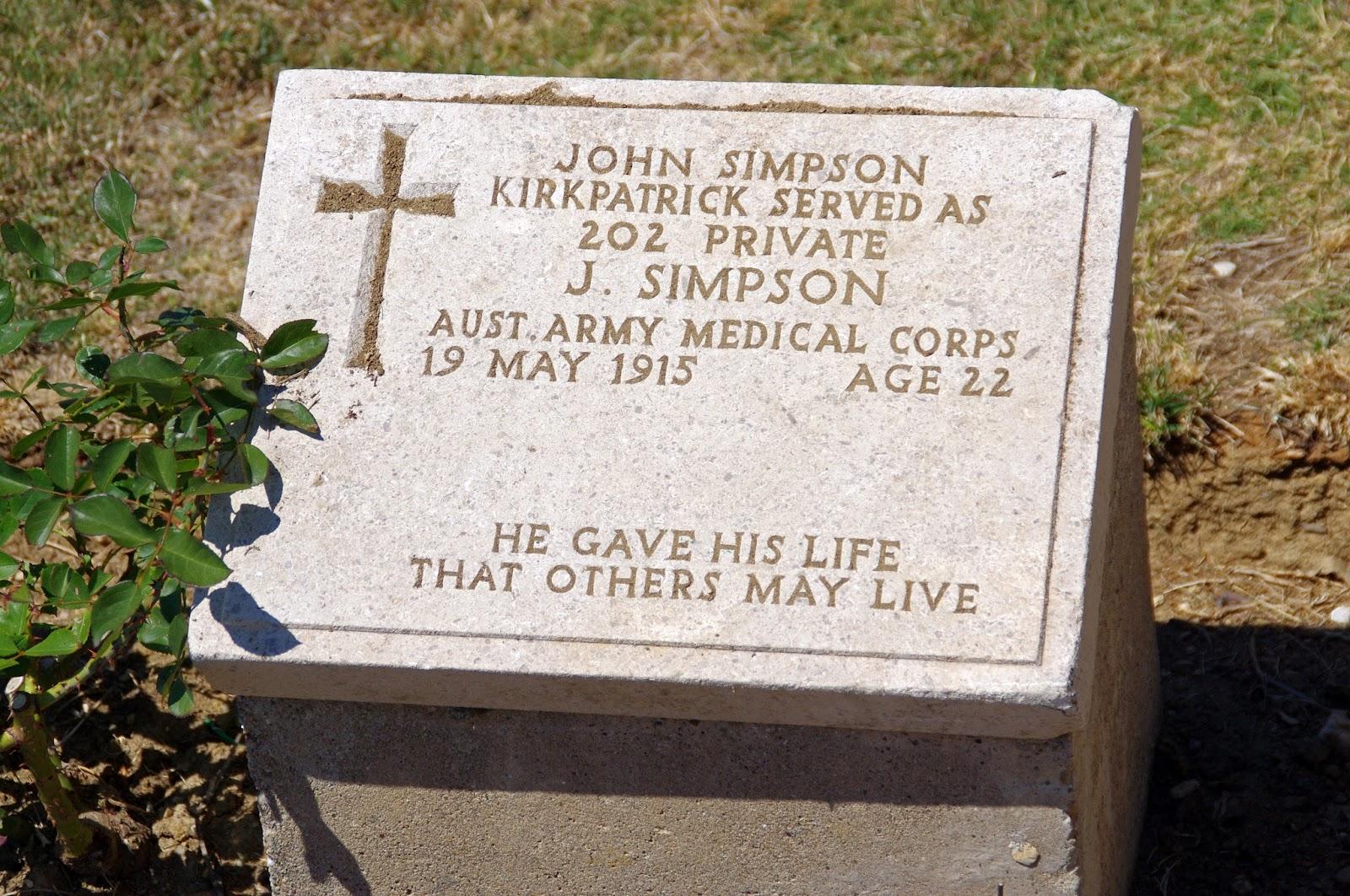 John Simpson Kirkpatrick Grave Gallipoli