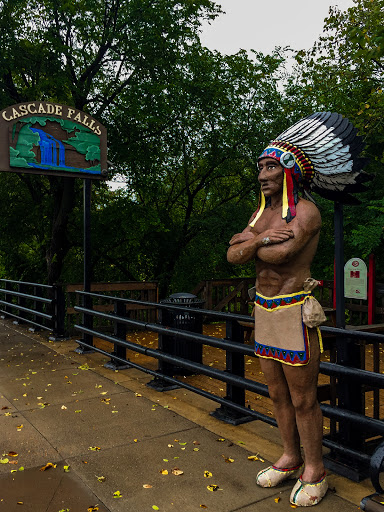 A Carved Figure of Chief Osceola at the trailhead of Cascade Falls and Wilkie Glen